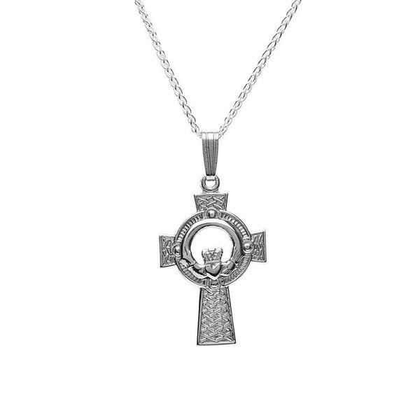 Necklace - Pendant - Med Claddagh Cross - Silver - Boru C102