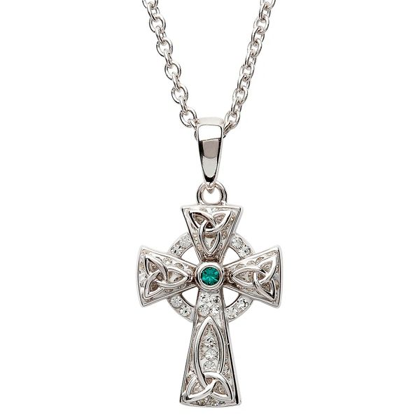 Pendant - Necklace - Celtic Trinity Knot Cross - Silver with Swarovski Crystal - shanore#SW65