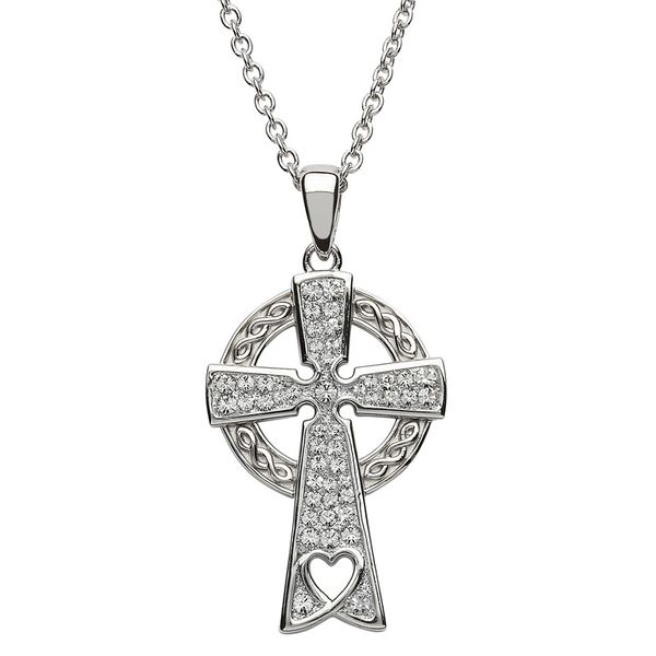Necklace Pendant Celtic Cross Sterling with Swarovski Shanore #SW92