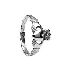 Claddagh Ring Twisted Band Sterling made in Ireland Brou CLAD19