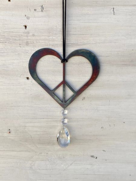 Hanging-Heart Peace sign with Crystal Drop