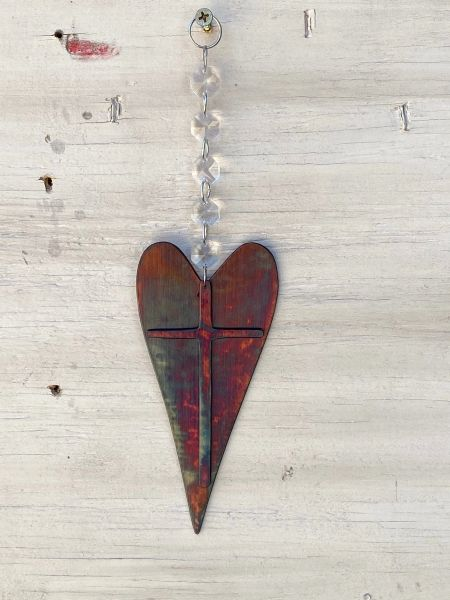 Hanging-Heart with cross hangs from crystal strand