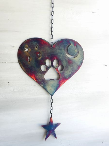Hanging Paw heart with moon & star