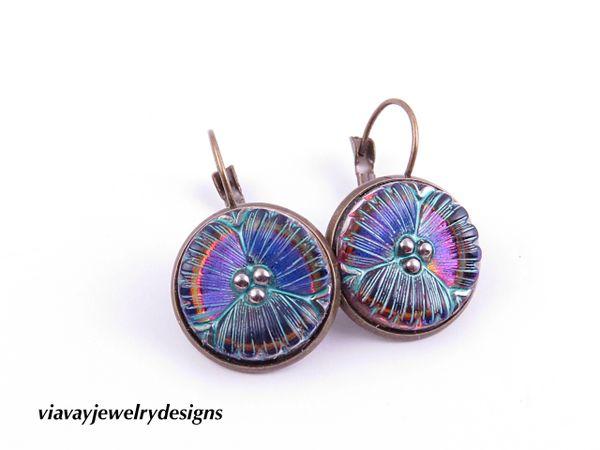 Iridescent Seafoam Blue Green Floral Flower Czech Glass Button Earrings Glass Button Drop Earrings 18mm Buttons Dangle Earrings