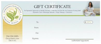 Shop, Gift Certificates, ChayaVeda Gift Cards and Book