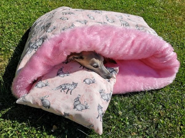 Canvas Pink Fox & Hare Snuggle Wrap Beds - Fleece or Faux Fur Lined Fleece