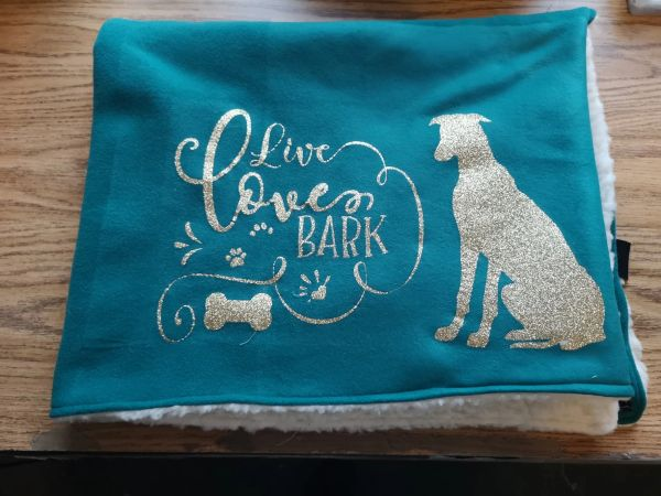 Live Love Bark with your chosen dog breed glitter Fleece / Sherpa and Faux Fur backed Blankets