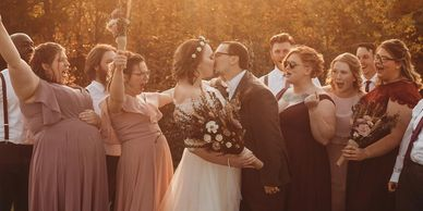 Beautiful outdoor wedding and indoor reception for this October wedding