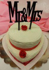 Double Layer White Heart Celebration Cake w/ Mr & Mr Topper