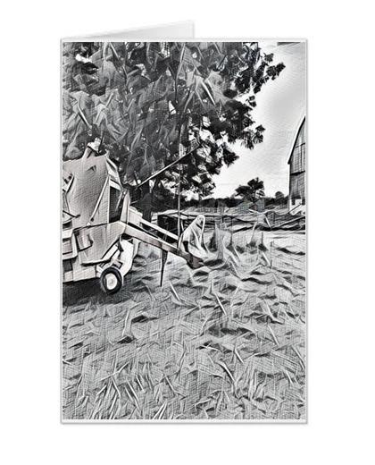 #F24 | Around The Farm Greeting Cards | Haybine and Maremma Dog