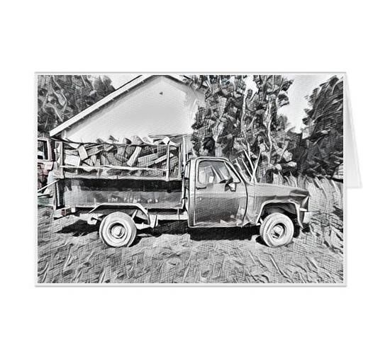 #F36| Around The Farm Greeting Cards | Old Ford Farm Truck | Ontario Canada