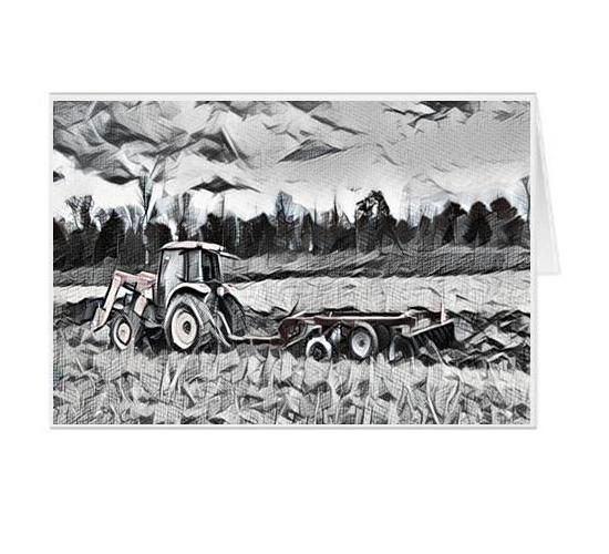 #F53| Around The Farm Greeting Cards | Tractor Spring Plow