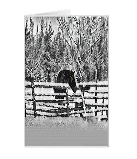 #57| Around The Farm Greeting Cards | Horse and Rail Fence