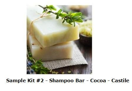 COLD PROCESS SOAP SAMPLER KIT #2 - SHAMPOO BAR, COCOA BUTTER, AND CASTILE