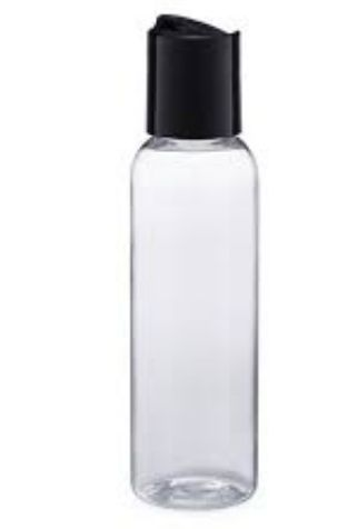 Bullet PET Bottles Clear Plastic With Black Disc Lid - 4oz