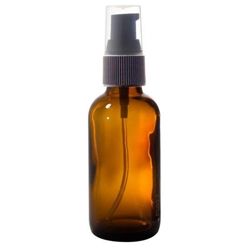 50 ML AMBER ESSENTIAL OIL BOTTLE WITH BLACK TREATMENT PUMP & BLACK LID