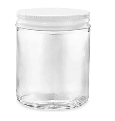 Glass Candle Jar Kingston Ontario 8 - 10 oz White Metal Lid Bulk Candle Jars