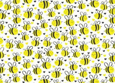 Fabric For Beeswax Wraps - 100 % Cotton | Yellow Bee on White Pattern