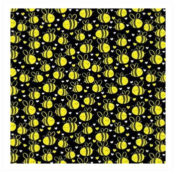 Fabric For Beeswax Wraps - 100 % Cotton | Yellow Black Background Bee Pattern