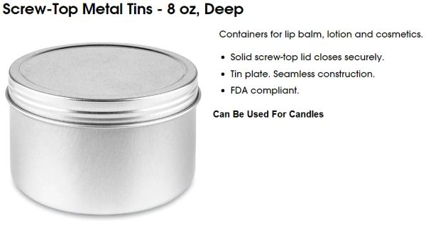 Tins For Candles Kingston Ontario Canada Bulk 8 oz Aluminum Free