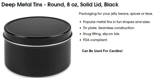 Black Candle Tins Kingston Ontario Canada Bulk 8 oz Aluminum Free