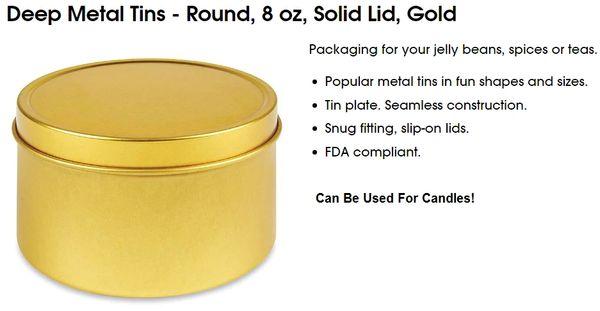 Gold Candle Tins With Lids Kingston Ontario Canada Bulk 8 oz Aluminum Free