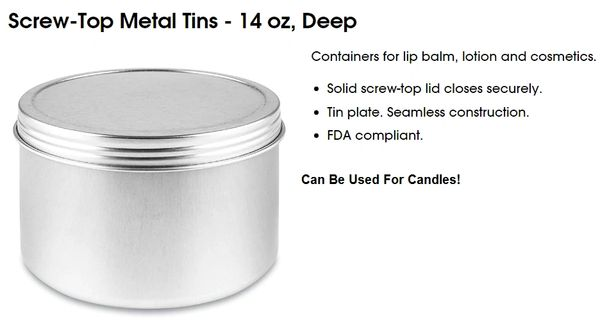 Large Tins For Candles Kingston Ontario Canada 14 oz Aluminum Free