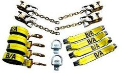 BA Products 38-200D 8 Point Tie Down System with Snap Hooks on 14' Straps, chains on ratchets & (2) Bolt-on Forged D Rings