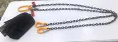 """Grade 80 9/32"""" 2 leg chain bridle each leg 8' with slink hook (includes carrying bag)"""