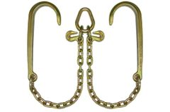 "Grade 70 5/6"" V-Chain 2' Legs with 15″ J Hooks & Grab Hooks at Pear Link #N711-8"