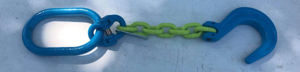 """Grade 100 1/2"""" Hi Viz 1' Chain with oblong & foundry hook - 2' total reach #h10-12fh1"""