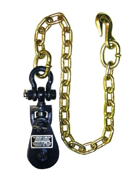 """4 Ton Snatch Block with Chain 4.5"""" sheave 3/8 """"-1/2"""" cable #6I-4TSW30"""