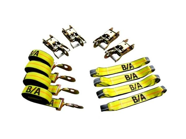 BA Products 38-200SH 8 Point Tie Down System with Snap Hooks on Ratchets and Straps