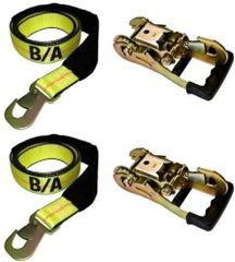 BA Products, 38-3d (2) 38-82 (2) Set of Two Straps with flat snap hook & Two Gradual Release Ratchet for Dynamic, Century, Vulcan Auto Loader Wheel Lifts