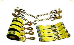 BA Products 38-200 8 Point Tie Down System with Chains on Ratchets and Straps with Snap Hooks