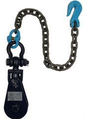 "(2) 4 Ton Snatch Block with Chain 4.5"" sheave 3/8 ""-1/2"" cable #6I-4TSW30"