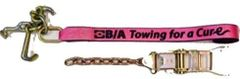 """(10) 2″ x 86"""" Heavy Duty Strap with Mini J, R & T Hook Cluster & Ratchet with Chain tail#CURE38-100 Breast Cancer Awareness Lasso Strap"""