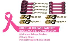 BA Products #Cure38-8218C 8 Point Tie Down System with Chains on Gradual Release Ratchets and 18' Straps with carrying bag.Breast Cancer Awareness