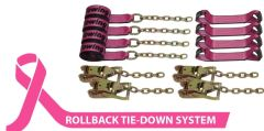 BA Products #Cure38-218C 8 Point Tie Down System with Chains on Ratchets and 18' Straps with carrying bag Breast Cancer Awareness