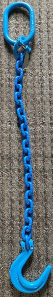 """Grade 100 1/2"""" x 3' Blue Powder Coated Chain Assemblies with oversize 1"""" Oblong on one end & Clevis Foundry Hook on other end"""