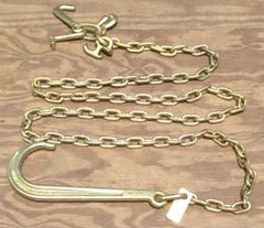 "Grade 70 5/16"" x 10' Chain Assembly w/15"" J Hook on one end & grab, mini j, r & t-hook on other end"