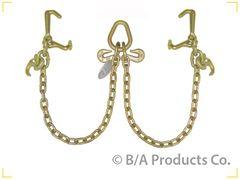Grade 70 V Chain 3' legs w/cluster hooks - Mini J, R & T Hooks, Pear Ring w/2 grab hooks