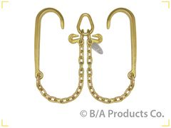 Grade 70 V Chain 2' legs w15' J-Hooks, Pear Ring and 2 Grab Hooks
