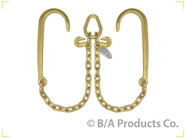 Grade 70 V Chain 2' legs w15' J-Hooks, Pear Ring and 2 Grab Hooks