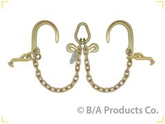 "Grade 70 V Chain 2' legs w8"" J-Hooks & T Hooks, Pear Ring and 2 Grab Hooks"