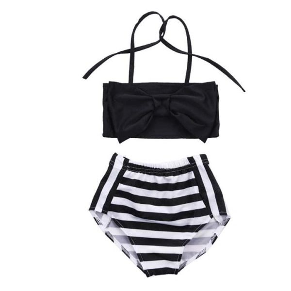 659071f887 High Waist Little Diva Black and White Bathing Suit Kids | Plush Pieces