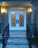 double entry doors with custom transom
