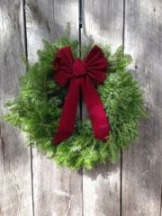 "MTA - 24"" Wreath - Burgundy Bow - Door Size"