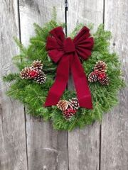 "MTA - 24"" Wreath - Fully Decorated w/ Burgundy Bow - Door Size"