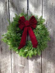 "MCYHA - 28"" Large Wreath - Burgundy Bow - Lg Door"